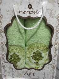Набір рушників у подарунковій коробці Merzuka, зелені.